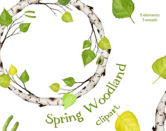 Digital watercolor clipart, Woodland, Birch clipart, clipart wreath, digital clipart, hand painted clipart, floral clipart