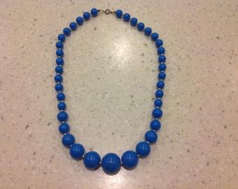 Vintage Retro 1960's Blue Beads
