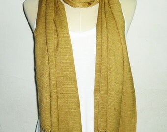 Plain scarf Thail silk 70x27 inch brown yellow shawl **elegant shawl**long scarf ** gifts shawl **women scarf **gift ideas accessories