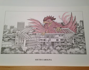 South Carolina 11x17 stadium print