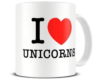 I Love Unicorns Mug - unicorn gift - unicorn mug -  MG122
