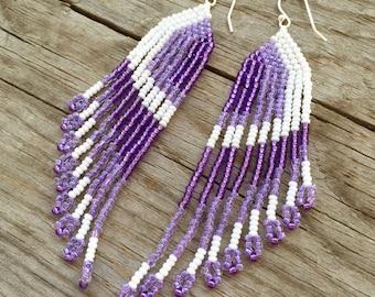 Beaded Earrings, Seed Bead Earrings, Medium Long, Fringe, Statement Piece Earrings, Purple, White, Bold, Fun
