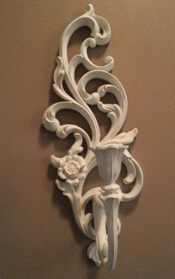 Wall Sconces Shabby Chic : Vintage Shabby Chic Syroco Candle/Wall Sconce