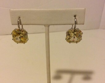 Large yellow and sterling silver chunky stone earrings