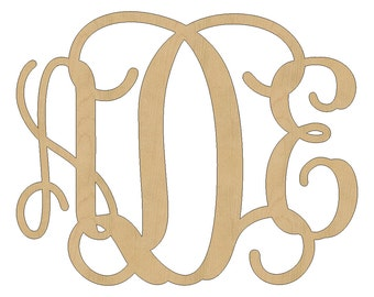 "20"" Wood Monogram,Vine Script,Unfinished Wooden Monogram, Ready To Paint, Weddng Guest Book, Nursery Decor, Monogram Home Decor 04"