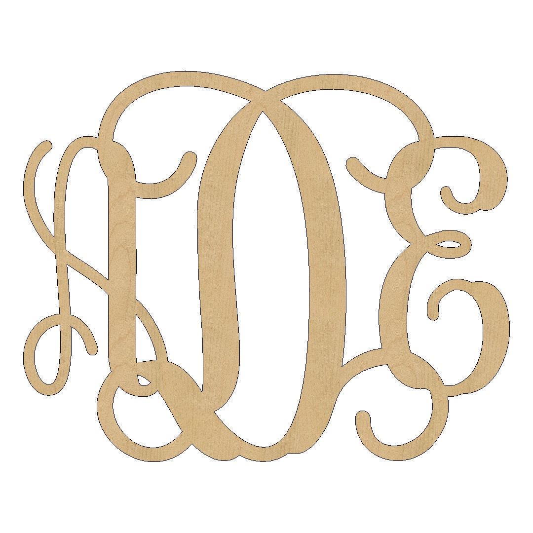 unfinished wooden monogram wood monogram door hanger wall With wooden initial letters monogram