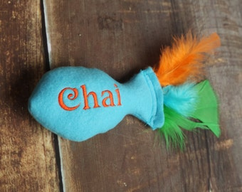 Personalized Stuffed Catnip Fish Cat Toy with Feathers