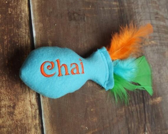 Orange fish cat toy
