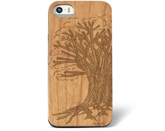Hand Drawn Tree of Life Laser Engraved on Wood phone Case for iPhone 5/S 6/S and  6plus IP-022