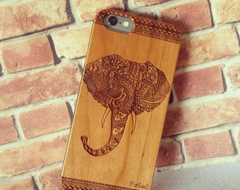 Hand Drawn Tribal Aztec Elephant with Leafy Paisley Pattern Laser Engraved on Wood Cell phone Case for iPhone 5/S, 6/S and 6 plus IP-019