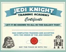 DL- Jedi Knight Certificate- Star Wars Birthday Party -Printable ...