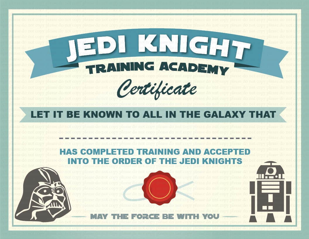 Star wars birthday party certificate pictures to pin on for Star wars jedi certificate template free