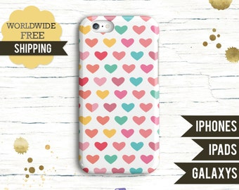 iPhone 7 Case, iPhone 7 plus Case, Samsung Galaxy S7, Samsung Galaxy S6, iPhone 6 case, Valentine Colorful hearts in white background