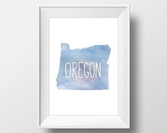 Oregon State Blue Watercolor Printable Art, Oregon State Print, Oregon Art, Modern Art,