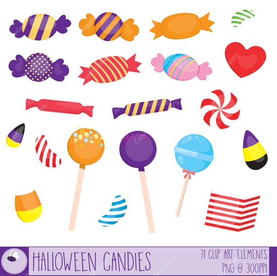 Halloween candy clipart set. 71 illustrations PNG/vector 6x6