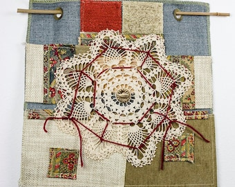 Patches - Fiber Art Wall Hanging with Vintage Lace