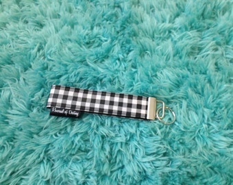 Black Checker board key ring