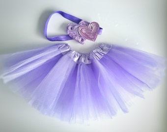 Purple Baby tutu and headband set