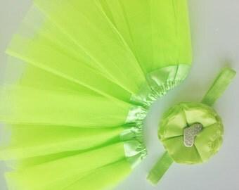 Green  baby Tutu and Headband Set