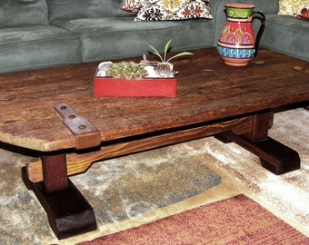 Rustic Trestle Base Coffee Table, Reclaimed Wood Table
