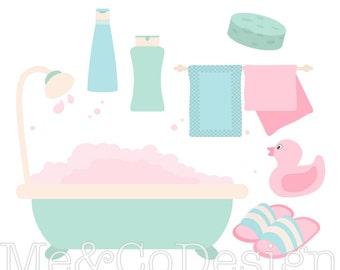 Pretty Bathroom Clipart, Fun Pastel Clipart, Retro, Shampoo Instant Download, Personal and Commercial Use Clipart, Digital Clip Art