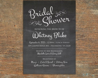 Vintage chalkboard bridal shower invitiation, customizable, printable