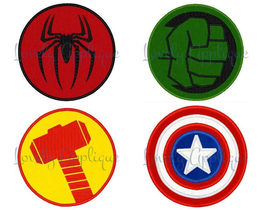 Superheroes Logos Set Of 4 Spiderman Hulk Thor By
