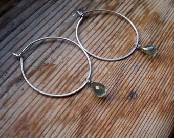 Aquamarine hoop earrings / Aquamarine jewelry / Moss Aquamarine