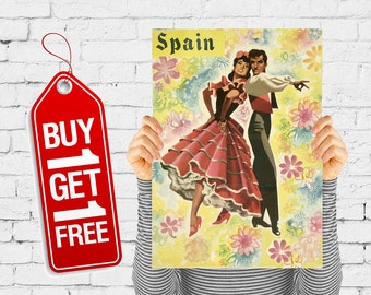 dance poster vintage Spain print man and woman dancing print retro advertising room decor bedroom poster dancer - Spain And Flowers (2252)