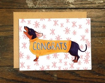 Wiener Dog Congrats Greeting Card