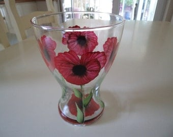 Hand Painted Red Poppy Glas Vase