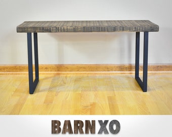 Salvaged Reclaimed Urban Wood Scorched Bench W/ Industrial Steel Legs- Fast Shipping