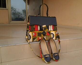 Handmade African Print Handbag with Matching Loafers
