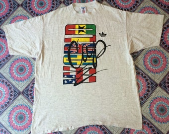 """vintage adidas treefoil world cup chest 25"""" t shirt made in USA wash once not worn"""