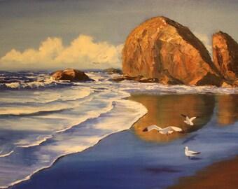 Wet sand - Original contemporary oil painting Sea Waves Seaside Ocean