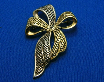 Vintage Big Gold and Silver Flowing Bow Pin Brooch