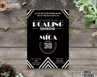 Roaring 20s Birthday Invitation / Gatsby Inspired / Invitation Printable / Change to any Age