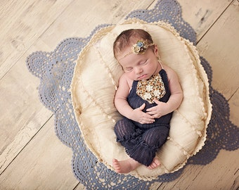 OOAK Newborn Girl Navy Photo Prop Outfit with Tieback