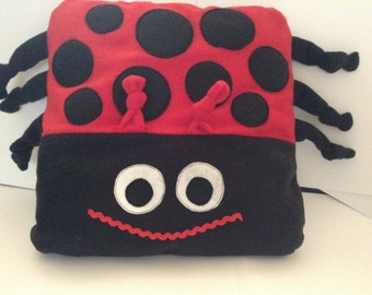 Ladybird Cushion - Huggle Buddy - Kids Bedroom - Pillow - Lucky Ladybird - Red Ladybug - Soft Toy Ladybird - Fleece Toys- Insects