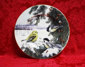 Lenox Winter Greetings Scenic Chickadees & Goldfinch Plate, Lenox Winter Greetings,  Catherine McClung Art, Collector Plates, Lenox China