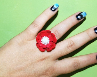 Red Flower ring, magic velvet ring, adjustable ring