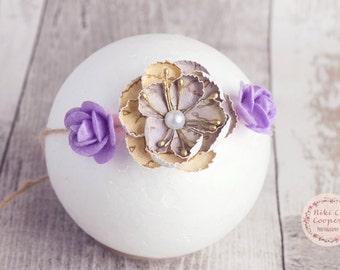 Floral newborn headband, baby tieback, photography prop, delicate headband, baby girl tieback, felt flowers, paper flower, purple tieback