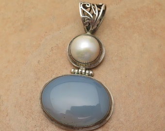 Vintage Pearl and Milky Blue Quartz Cabochon Pendant on 925 Sterling Silver with Filigree Bail