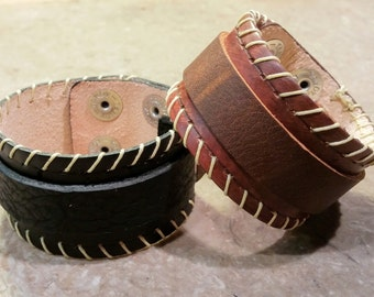 Double Layer Leather Cuff Bracelets