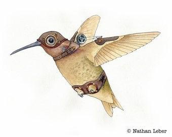 Steampunk Hummingbird - Art Print