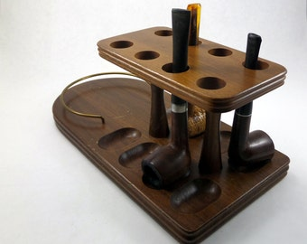 Vintage Wood Pipe Stand With Three Pipes - Vintage Pipe Stand - Wood Pipe Stand - Vintage Pipes - Vintage Tobacciana