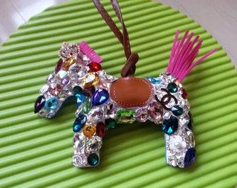 Sparkle Horse Purse Charm Bling Glitter Chic Women Bag Charm Handbag Accessories