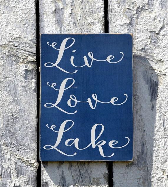 Lake Signs Wall Decor : Lake house decor live love sign custom wood