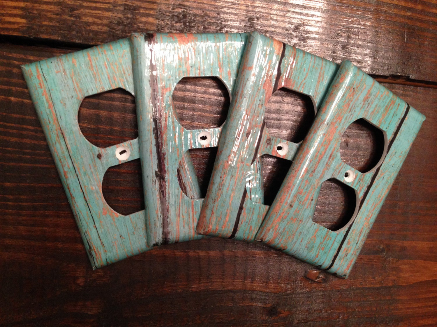 Teal wood grain light switch and outlet covers rustic zoom amipublicfo Images