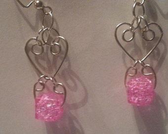 Wire wrapped Pink heart earrings